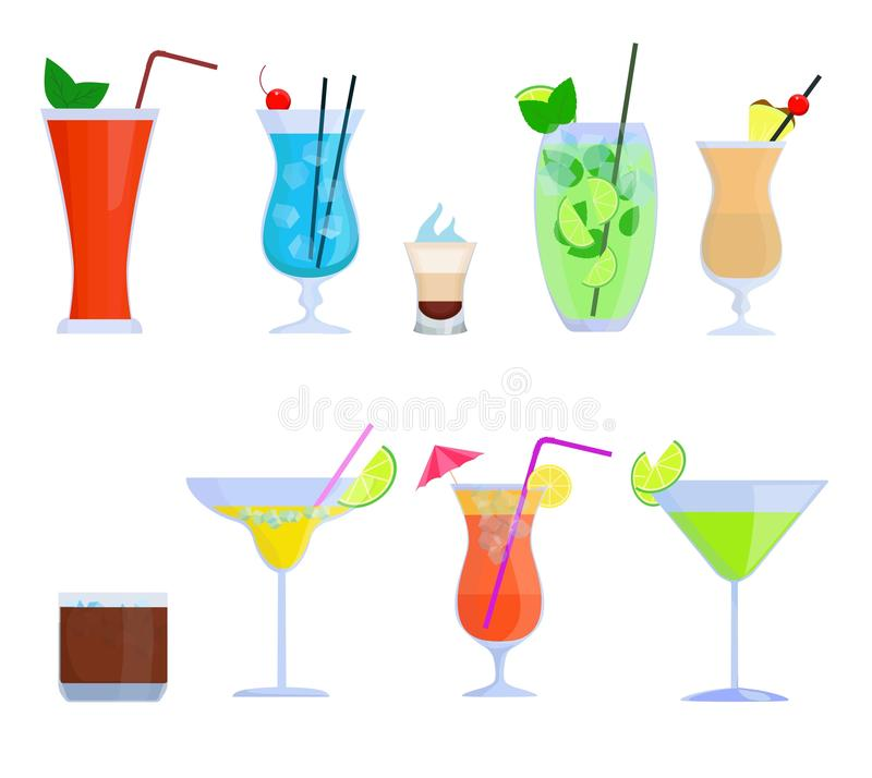 Tropical cocktails, juice, drink glass set isolated on white background. Alcoholic cocktails Bloody Mary, Mojito, Pina vector illustration