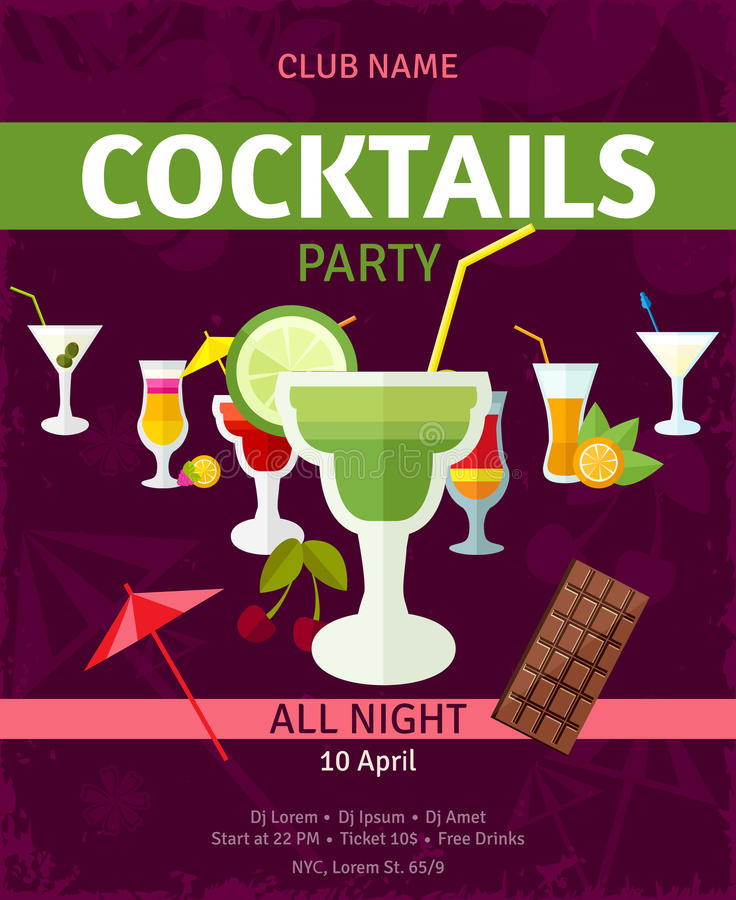 Tropical cocktails night party invitation poster stock illustration