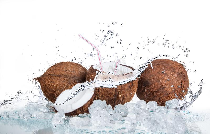 Tropical coconut with ice and splashing wate royalty free stock photos