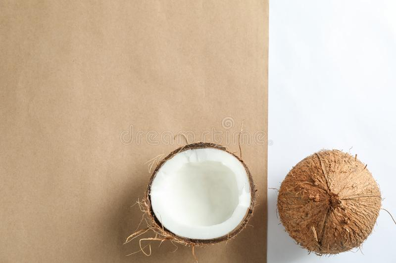 Tropical coconuts on two tone background. Space for text stock photo
