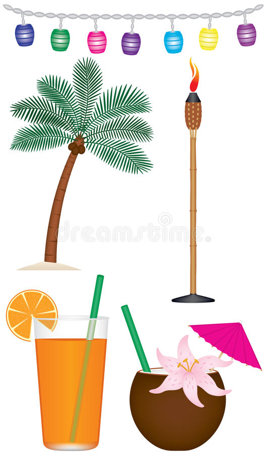 Tropical Collection. A collection of tropical and tiki type objects. Included are tiki lanterns, palm tree, tiki torch, tropical fruity drink and drink in vector illustration