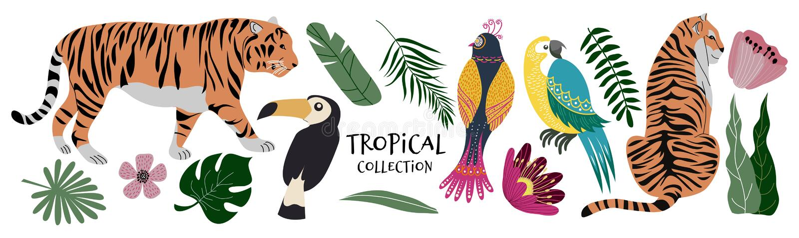 Tropical collection exotic flowers, leaves, birds and tigers. Cute flat Vector isolated elements royalty free illustration