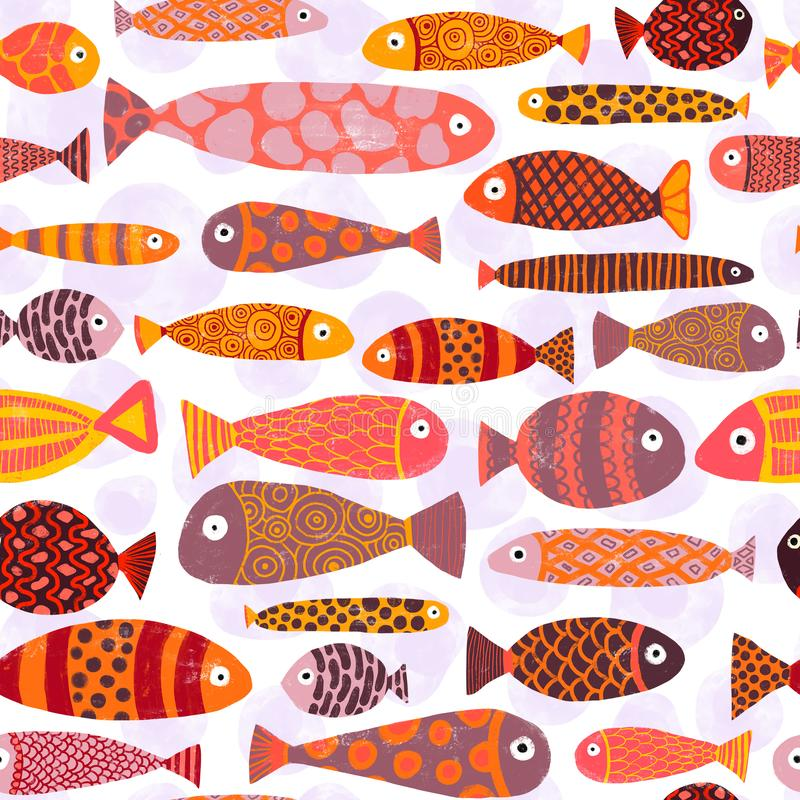 Tropical colorful exotic fish swarm seamless pattern. School of fish background. Kids beach vacation underwater themed design for vector illustration