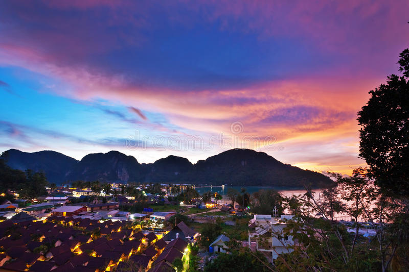 Download Tropical colorful sunset. stock image. Image of orange - 20227097