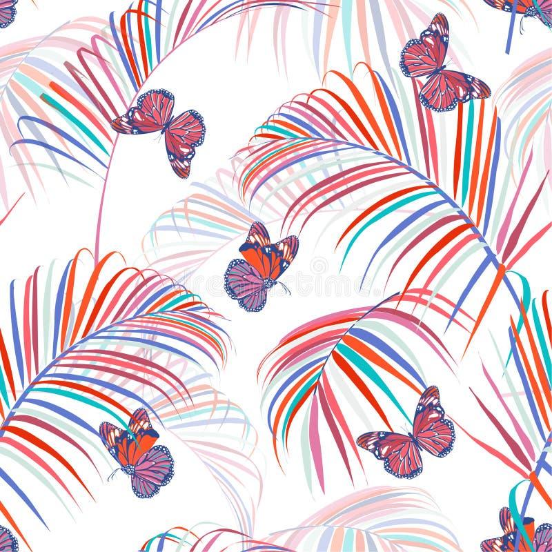 Tropical colorido de moda y hojas de palma con las mariposas que vuelan el diseño inconsútil del vector del modelo para la moda,  ilustración del vector