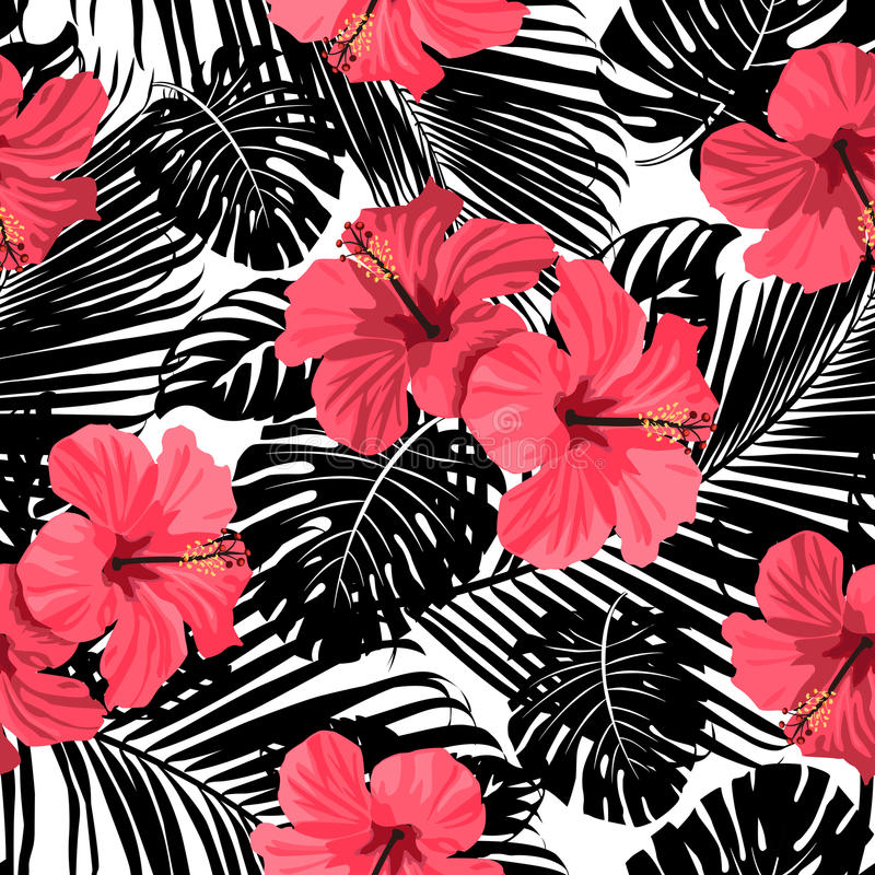 Tropical coral flowers and leaves on black and white background. vector illustration