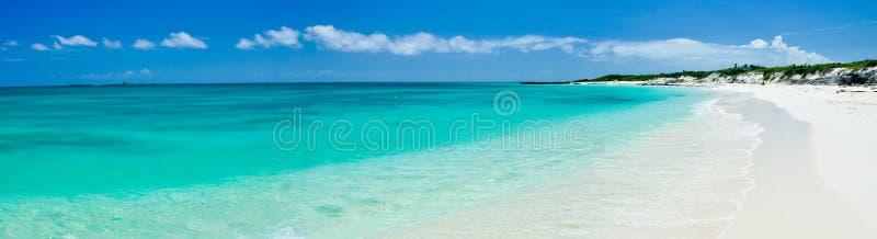 Tropical cuban beach panorama stock photo