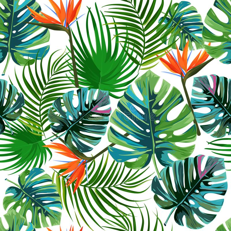 Tropical dark green leaves of palm trees and flowers bird of paradise strelitzia . Summer exotic seamless pattern. stock illustration