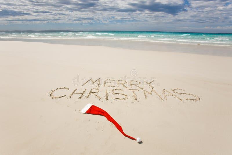 tropical de Noël de plage joyeux écrit images libres de droits