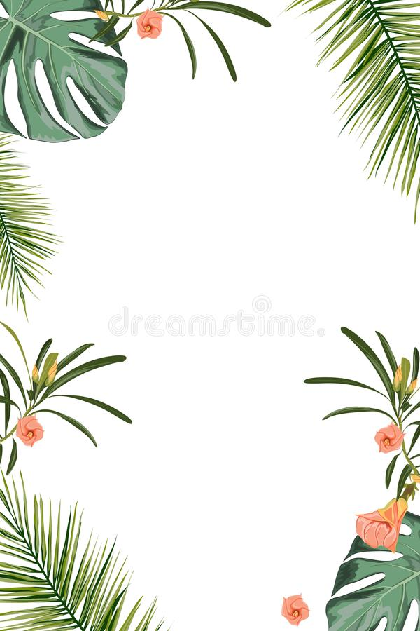 Tropical design border frame template with green jungle palm tree monstera leaves and exotic flowers couple. Text placeholder. Vector design illustration stock illustration