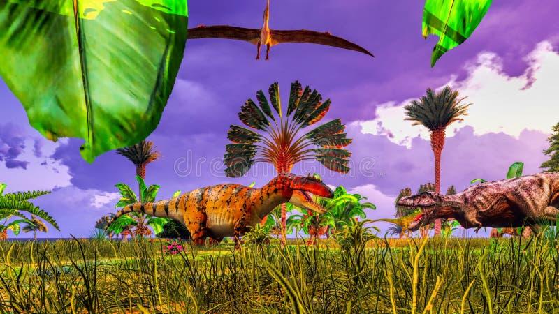 Tropical dinosaur park. Prehistoric landscape with big dinosaur stock illustration
