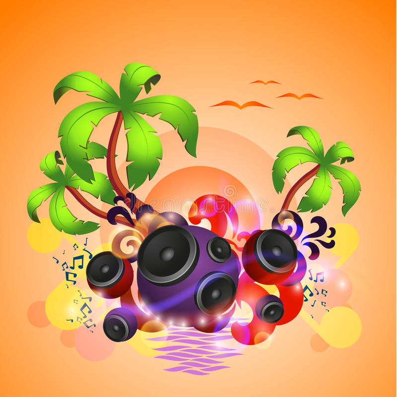 Tropical disco dance background with speakers royalty free illustration