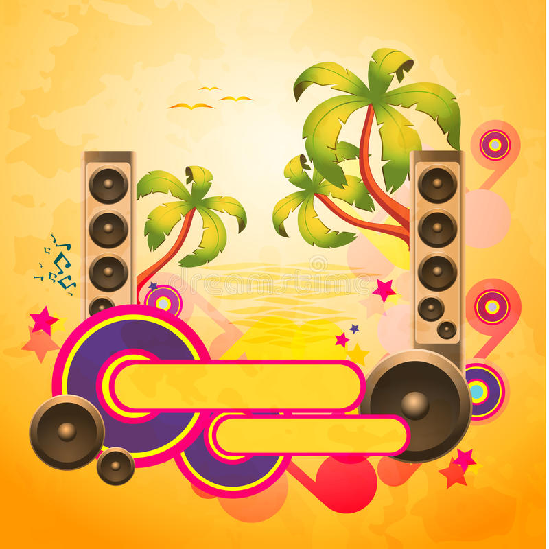Tropical disco dance background with speakers stock illustration