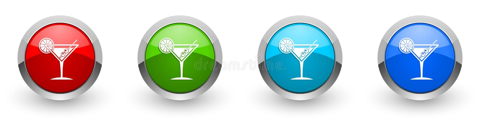 Tropical drink, alcohol, bar, martini in glass concept set of modern design buttons for web, internet and mobile applications in. Four colors options isolated stock photography
