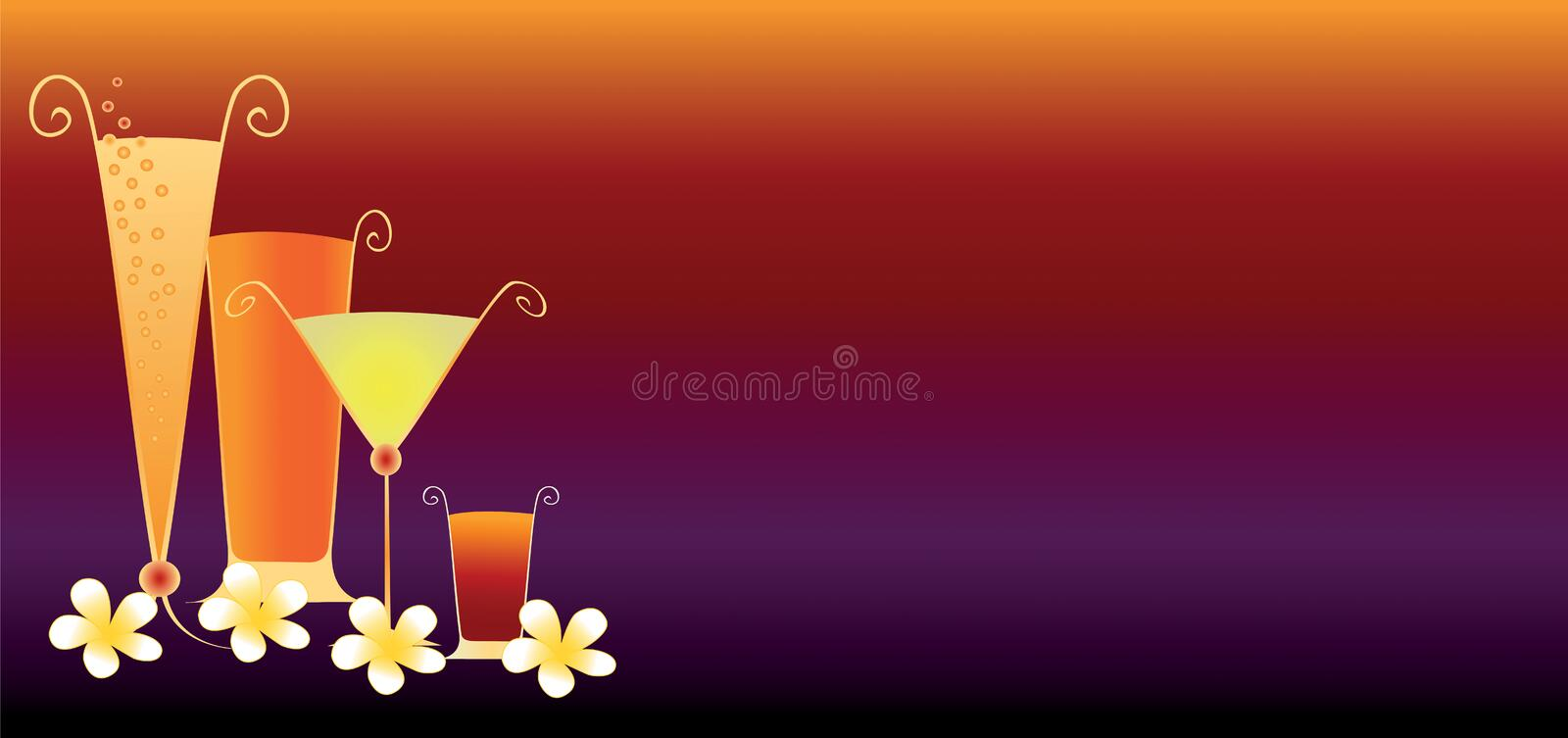 Tropical Drinks Banner royalty free illustration