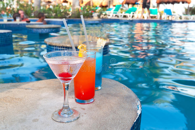 Download Tropical Drinks At Swimming Pool Stock Photo - Image of heat, color: 21436134