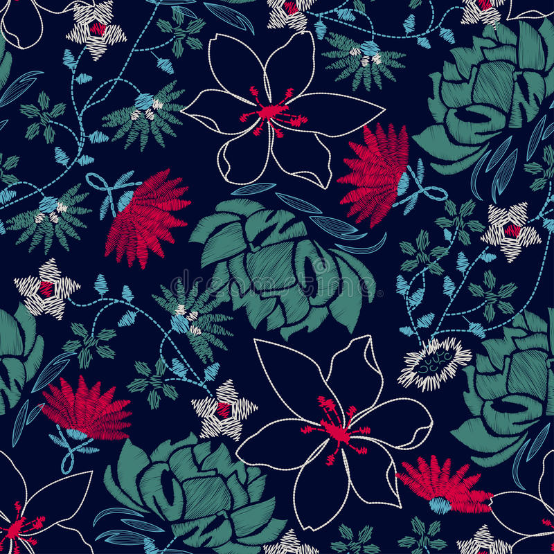 Free Tropical Embroidery Lush Floral Design In A Seamless Pattern Stock Photography - 44043692
