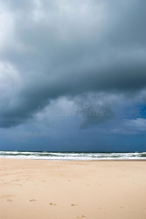 Tropical empty beach of the north of brasil before the storm. The sky is cloudy and the rain is about to begin stock images