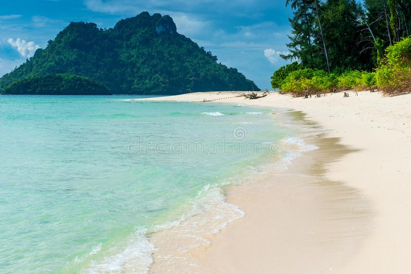 Tropical empty beach with white sand and turquoise water, Poda i. Sland, Thailand royalty free stock photography