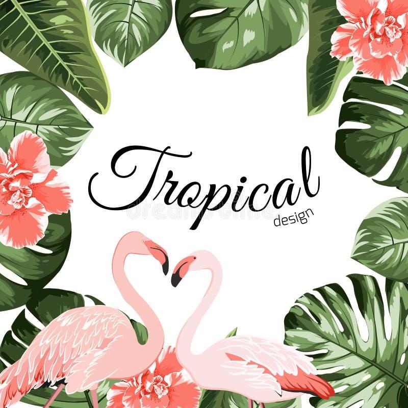 Tropical event invitation card template stock illustration
