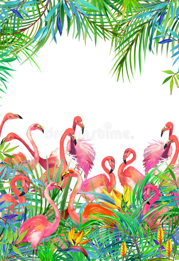 Tropical exotic bird, leaves and flowers. vector illustration