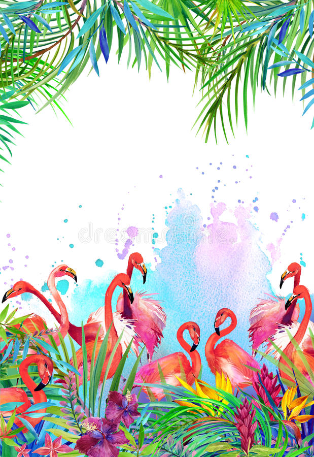 Tropical exotic bird, leaves and flowers. stock illustration