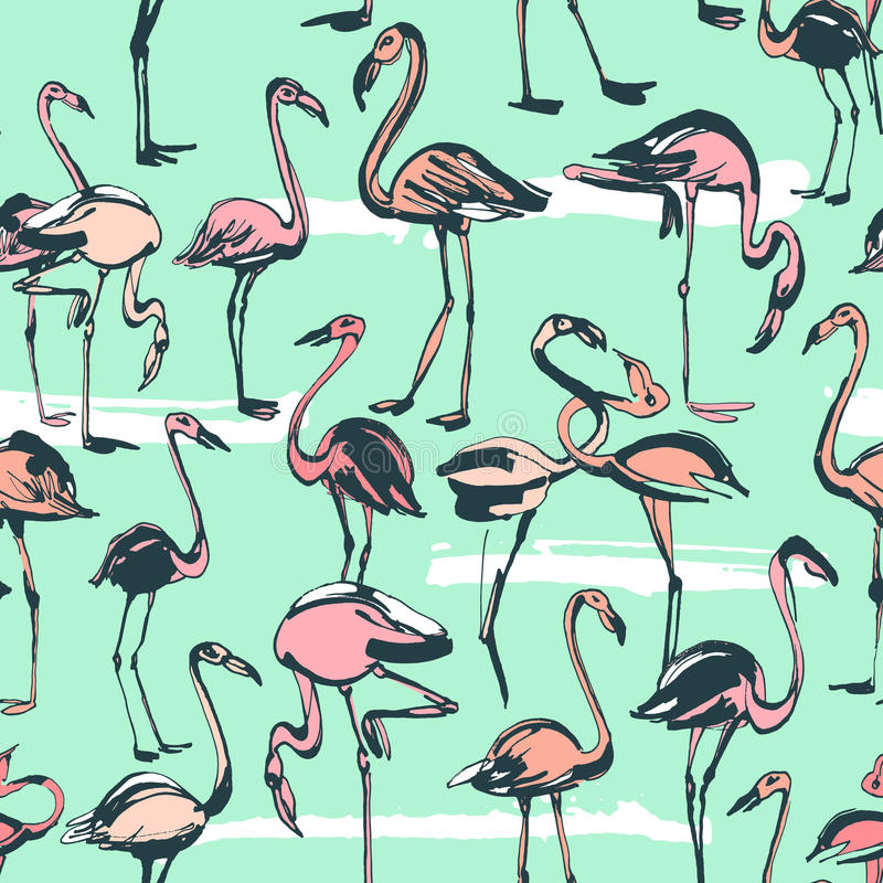 Tropical exotic birds flamingos summer seamless pattern. Pink a royalty free illustration