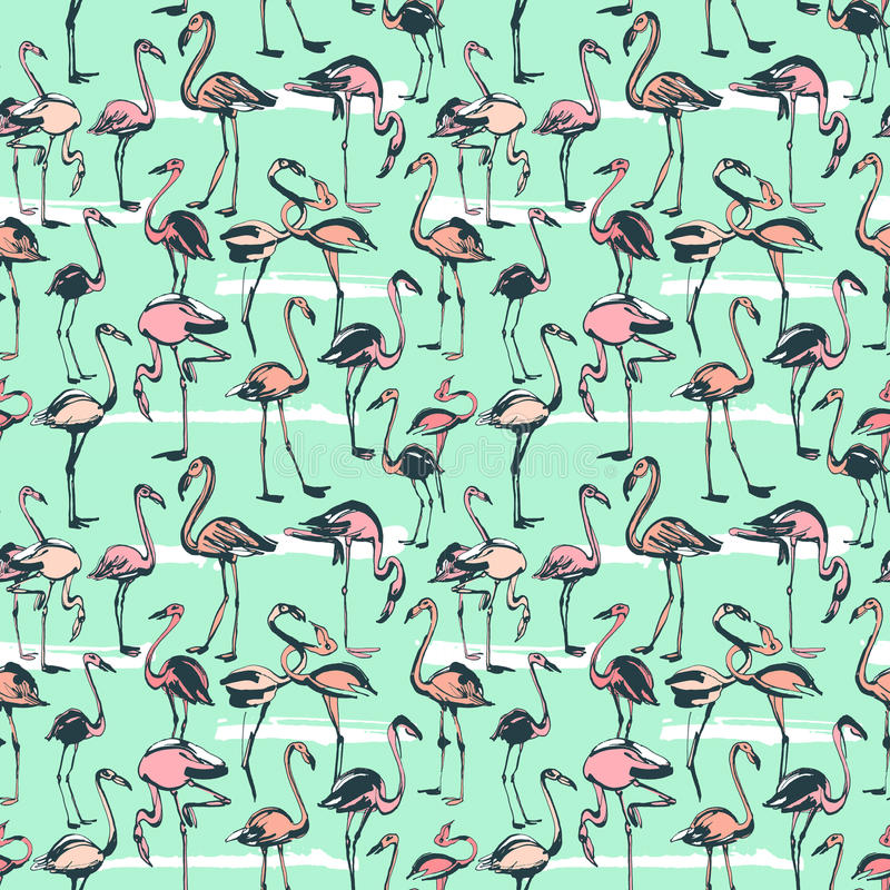 Tropical exotic birds flamingos summer seamless pattern. Pink a stock illustration