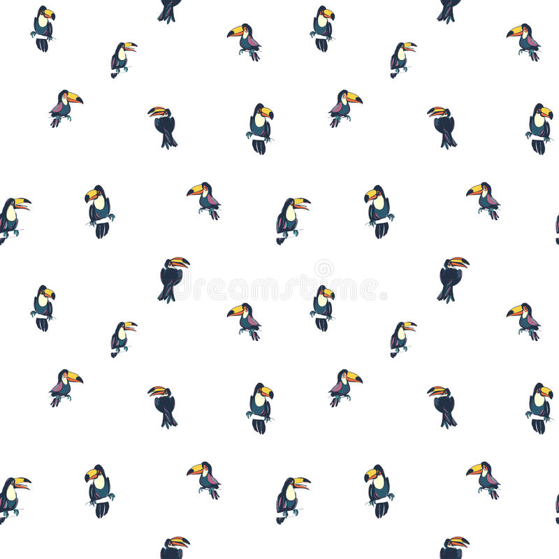 Tropical exotic birds parrots toucans summer seamless hipster background pattern. vector illustration