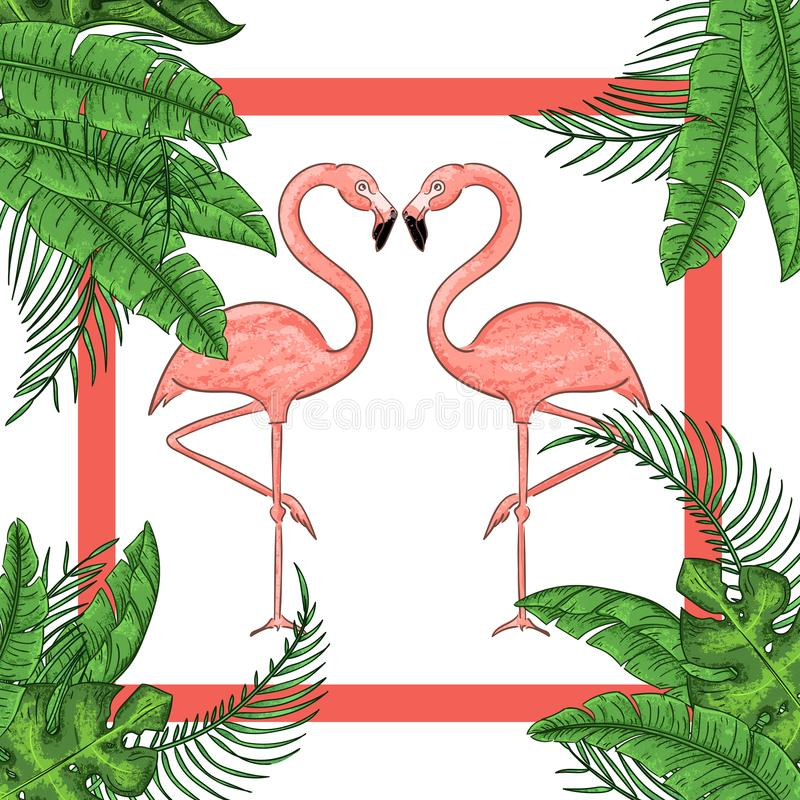Tropical exotic border frame template with bright green jungle palm tree. Monstera leaves and pink flamingo birds couple stock illustration