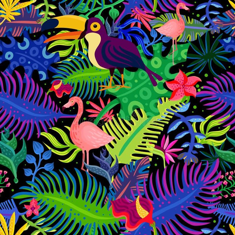 Flamingo Bird Exotic Summer Vacation Poster Stock Vector
