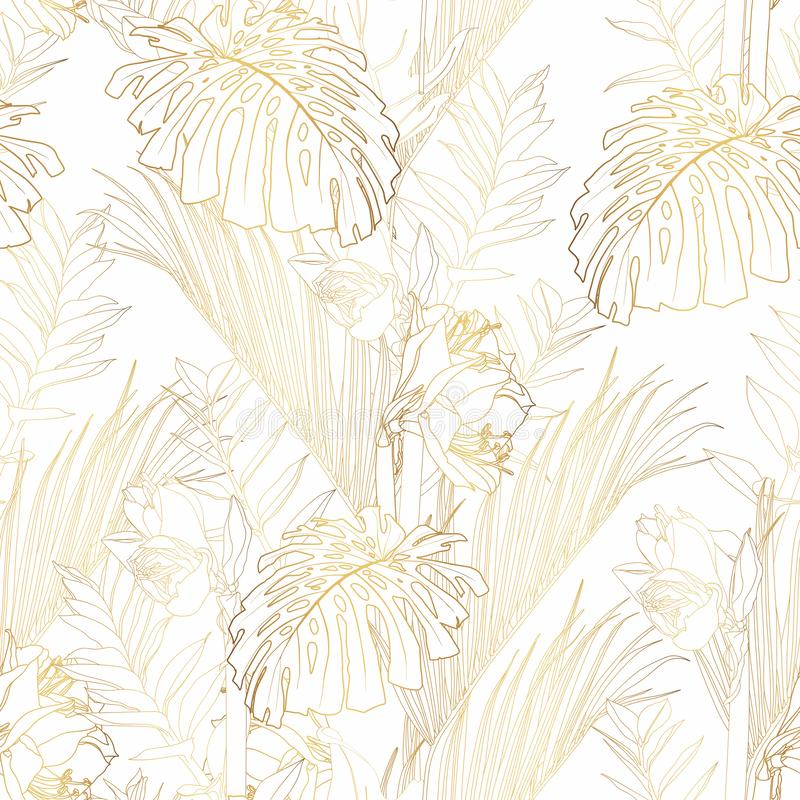 Tropical exotic floral golden line palm leaves and flowers seamless pattern, white background. vector illustration