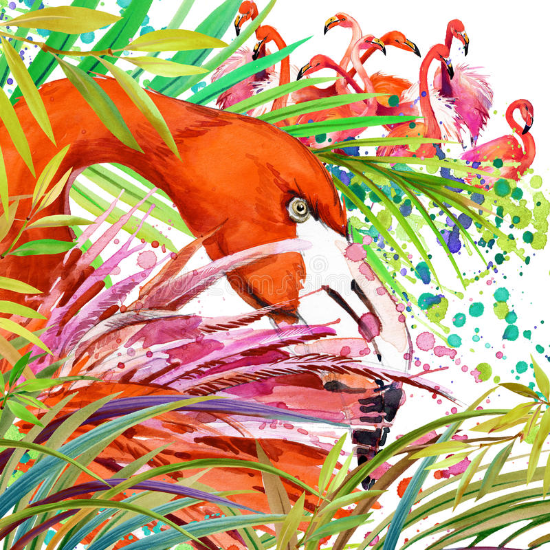 Tropical exotic forest, green leaves, wildlife, bird flamingo watercolor illustration. watercolor background unusual exotic nature stock illustration