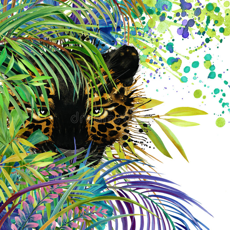 Tropical exotic forest, green leaves, wildlife, panther, watercolor illustration. watercolor background unusual exotic nature vector illustration