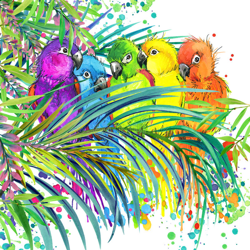 Tropical exotic forest, green leaves, wildlife, parrot bird, watercolor illustration. watercolor background unusual exotic nature royalty free illustration
