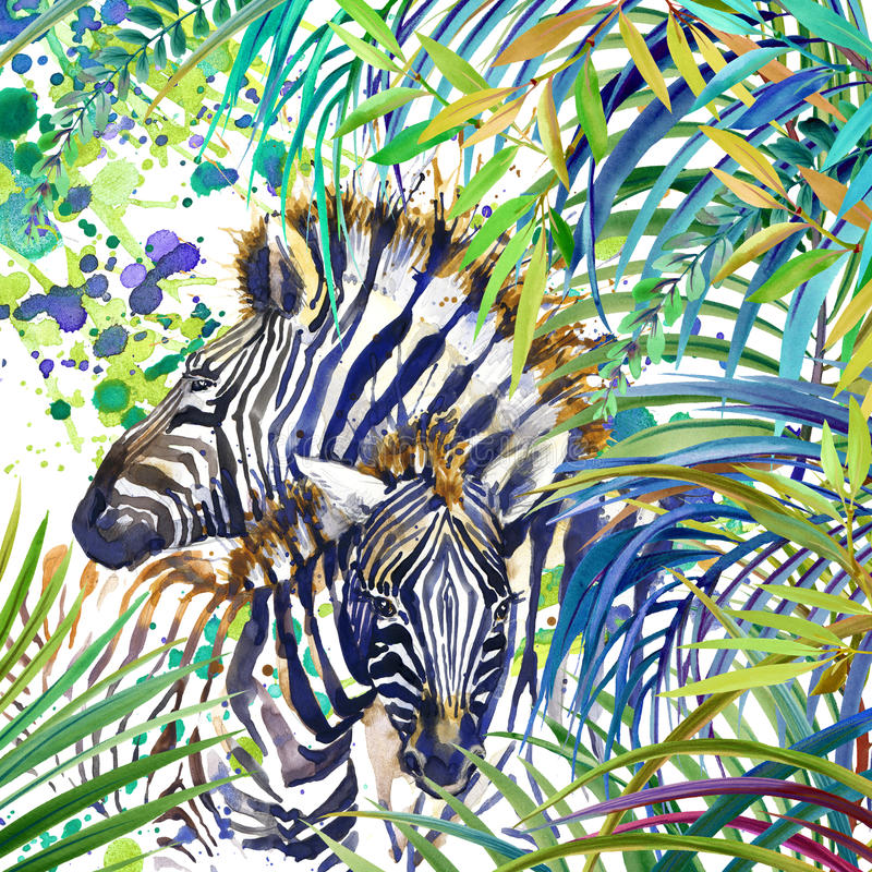 Tropical exotic forest, Zebra family, green leaves, wildlife, watercolor illustration.fe, watercolor illustration. vector illustration
