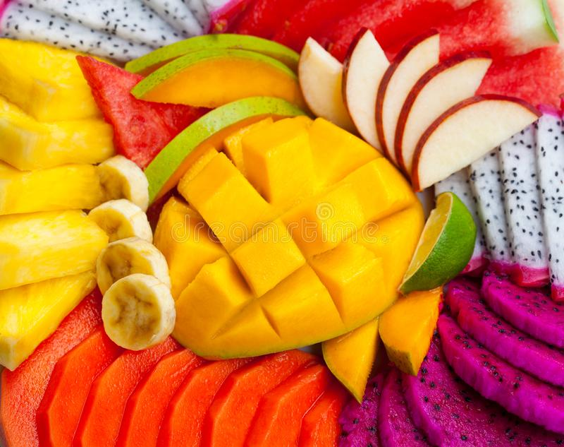 Tropical exotic fruits assortment. Top view. Close up. Tropical exotic fruits assortment. Top view. Close up stock photography