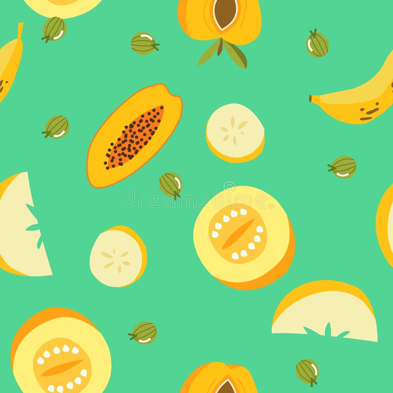 Tropical exotic fruits seamless pattern. Cute fresh organic fruits background. Vector illustration of watermelon, cherry, pear, vector illustration