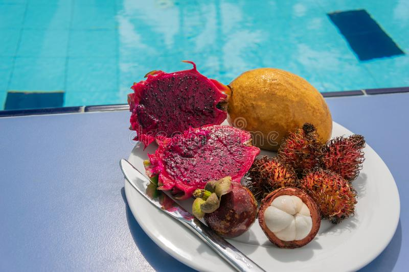 Tropical exotic fruits such as dragon fruit, rambutan, mango, mangosteen on a white plate on a blue pool background. Copy space royalty free stock photography