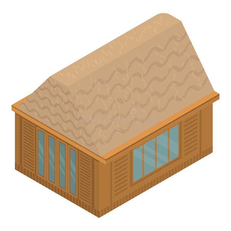 Tropical exotic house icon, isometric style stock illustration