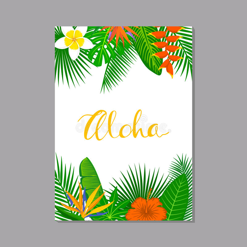 Tropical exotic leaves and flowers plants vertical border frame background royalty free illustration
