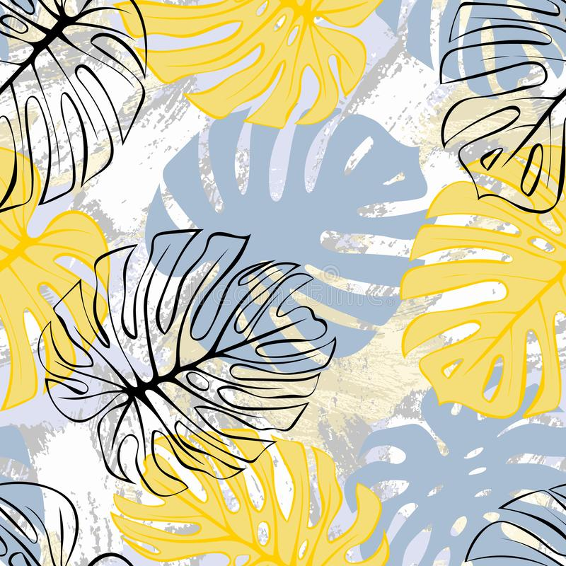 Tropical exotic monstera palm leaves seamless pattern. Exotic jungle backgound. vector illustration