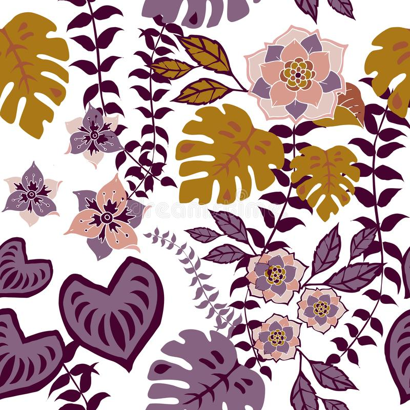 Tropival Floral Seamless Pattern, Autumn flowers Surface Pattern Background Romantic Floral Repeat Pattern for textile design. Tropical Fall Floral Seamless stock illustration