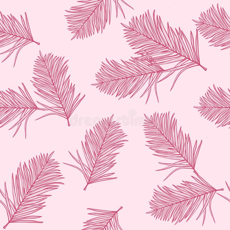 Tropical fashion pink palm leaves, jungle leaf seamless vector floral pattern background. Tropical fashion pink palm leaves, jungle leaf seamless vector floral vector illustration