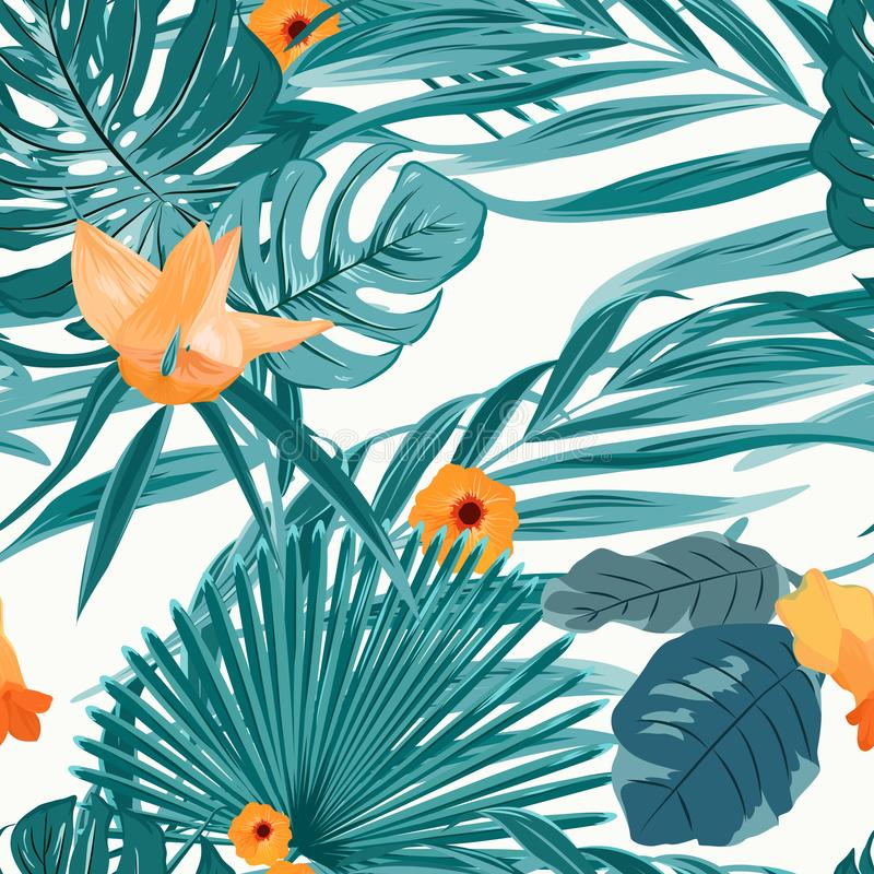 Tropical fern greenery orange flower pattern. Tropical fern greenery with exotic orange flowers seamless pattern on white background. Green turquoise jungle palm royalty free illustration