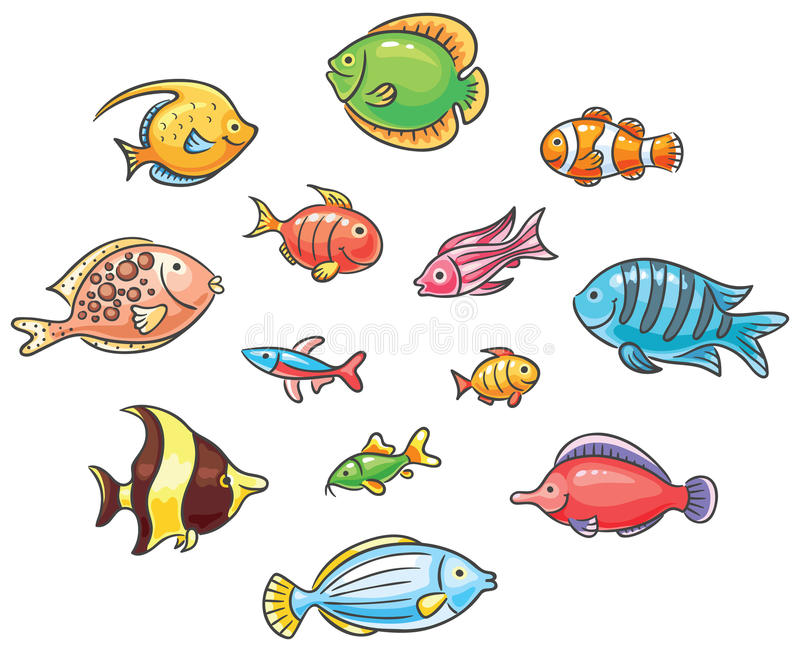 Tropical fishes stock illustration