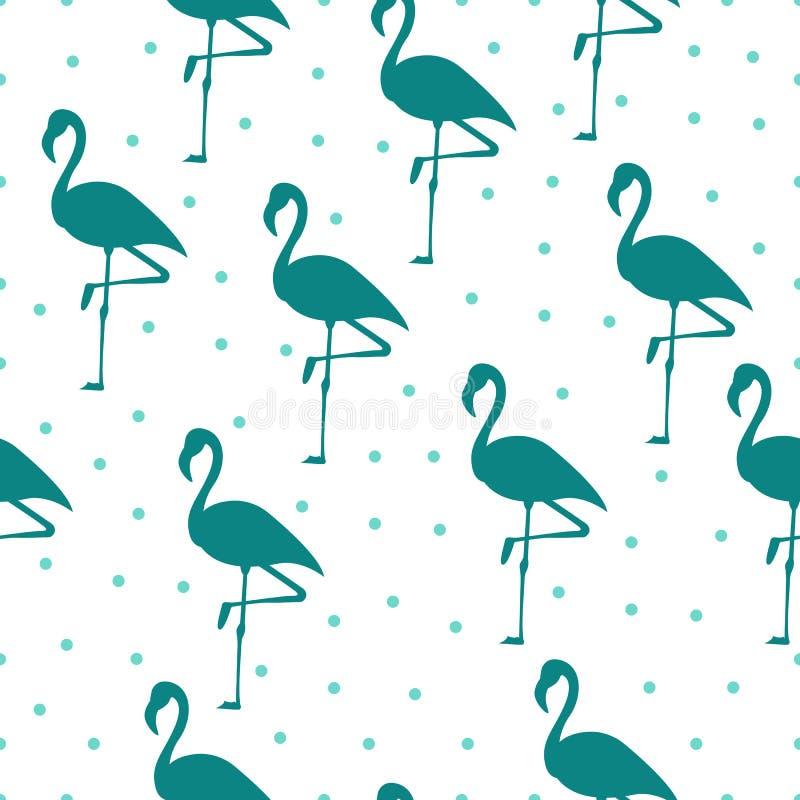 Tropical flamingo pattern. Seamless flamingo pattern. Polka dots. Vector illustration.  royalty free illustration