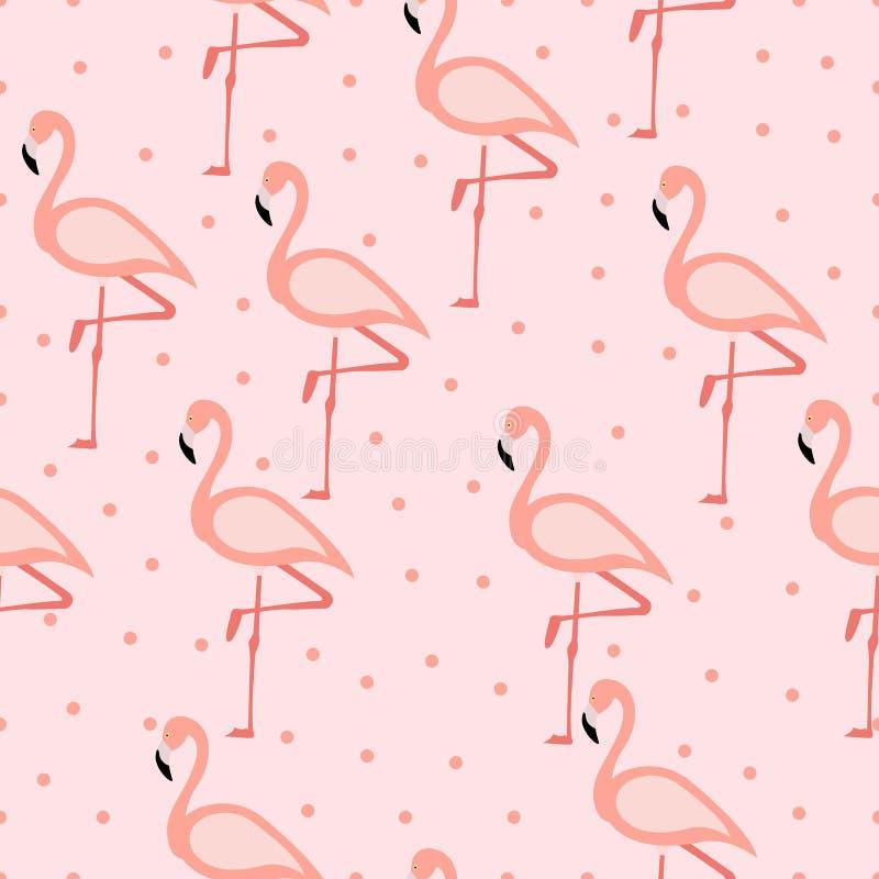 Tropical flamingo pattern. Seamless flamingo pattern. Polka dots. Vector illustration.  vector illustration