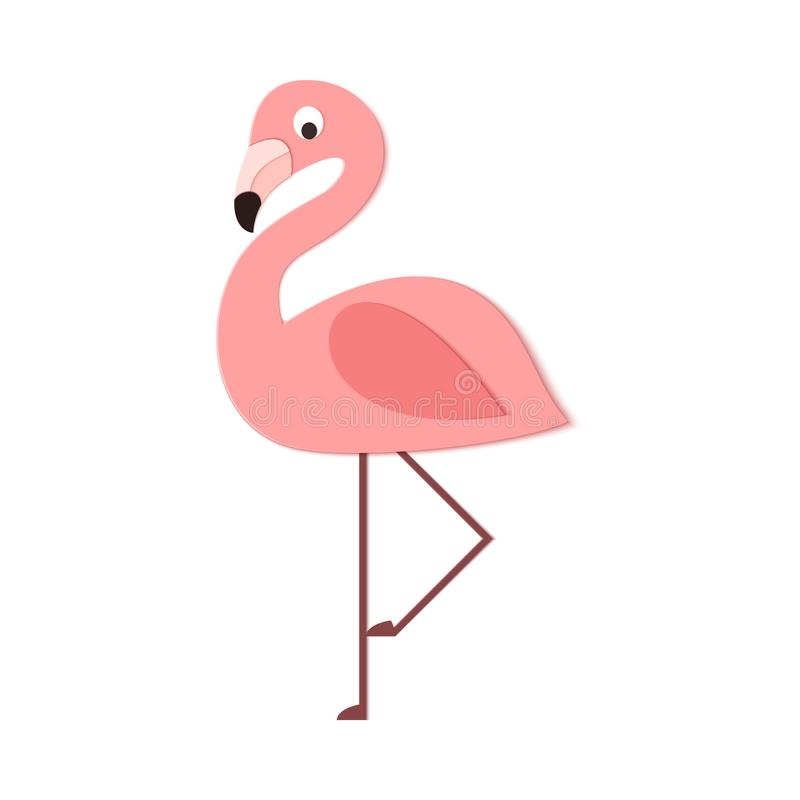 Tropical flamingo in trandy paper cut style. Craft jungle wild bird isolated on white background for package design, T stock illustration