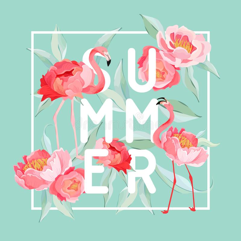 Free Tropical Flamingo Vector Summer Flyer, Banner With Peony Flowers Background. Floral And Bird Graphic For Wallpaper, Web Royalty Free Stock Images - 137193549